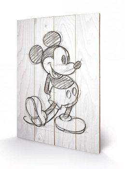 Mickey Mouse - Sketched - Single Panneaux en Bois