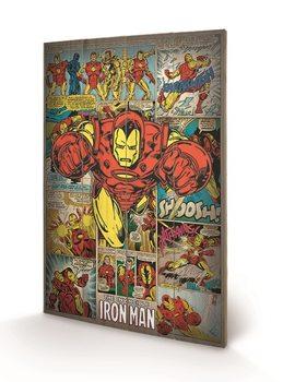 Pintura em madeira Marvel Comics - Iron Man Retro