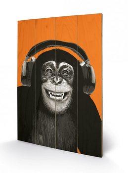 Pintura em madeira Monkeys - Headphones
