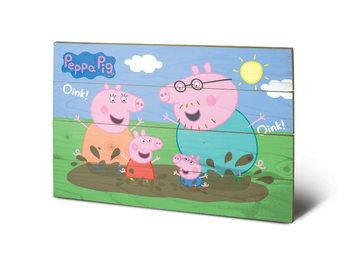Pintura em madeira Peppa Pig - Pig Family Muddy Puddle