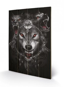 Pintura em madeira  SPIRAL - wolf triad