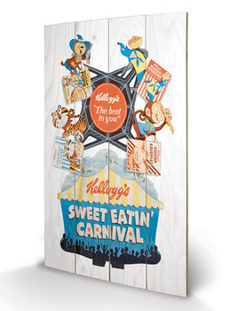 Pintura em madeira Vintage Kelloggs - Sweet Eatin' Carnival