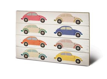 Pintura em madeira VW - Beetle Cars Pop Art