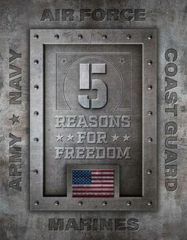 Placa metálica 5 Reasons for Freedom