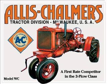 Placa Metálica ALLIS CHALMERS - MODEL WC tractor