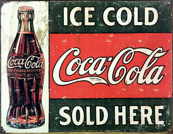Placa de metal COKE VINTAGE SOLD HERE