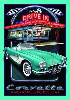 Placa de metal CORVETTE DRIVE