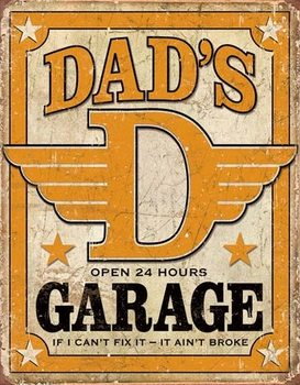 Placa de metal Dad's Garage