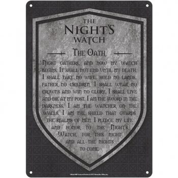 Placa metálica Game Of Thrones - Nights Watch
