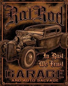 Placa de metal GARAGE - Rat Rod