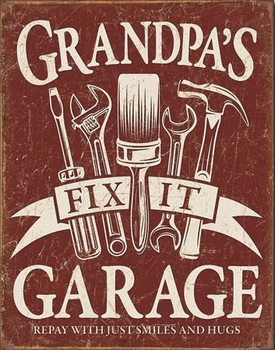Placa de metal  Grandpa's Garage