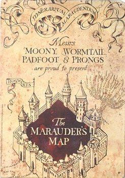 Placa de metal  Harry Potter - Marauders Map