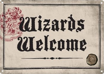 Placa de metal Harry Potter - Wizards Welcome