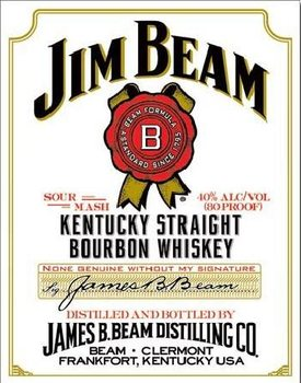 Placa de metal JIM BEAM - white label