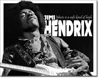 Placa de metal Jimi Hendrix - Music High