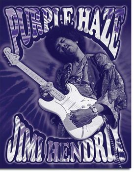 Placa de metal  Jimi Hendrix - Purple Haze