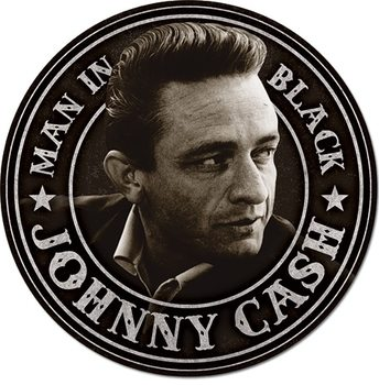 Placa de metal  Johnny Cash - Man in Black Round