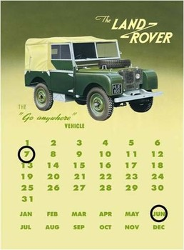 Placa de metal Land rover series 1 calendar
