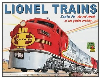 Placa de metal  Lionel Santa Fe