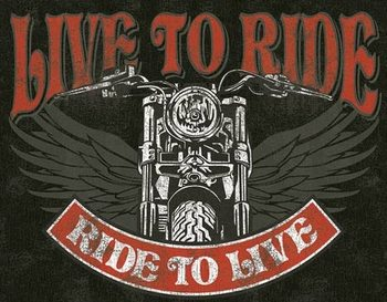 Placa de metal Live to Ride - Bike