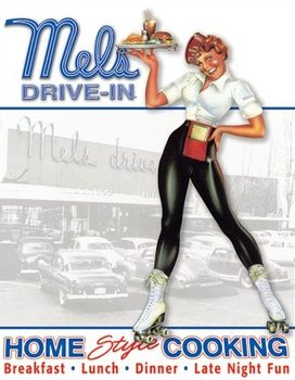 Placa de metal  Mels Diner - Car Hop
