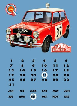 Placa de metal MINI COOPER'S'  CALENDAR