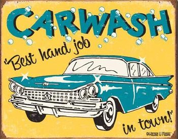 Placa de metal  MOORE - CARWASH - Best Hand Job In Town
