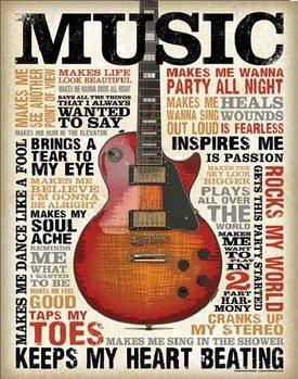 Placa de metal  MUSIC - Inspires Me