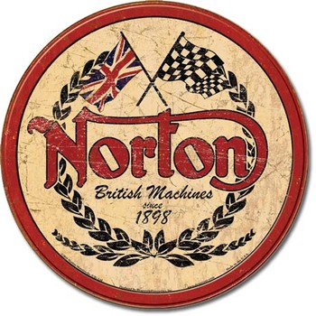 Placa de metal  NORTON - logo round
