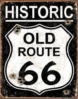 Placa de metal  OLD ROUTE 66 - Weathered