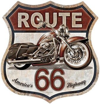 Placa de metal Rout 66 Bike