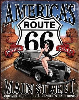 Placa de metal ROUTE 66 - America's Main Street