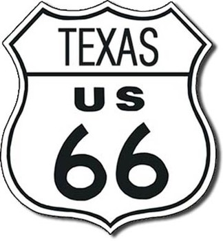 Placa de metal  ROUTE 66 - texas