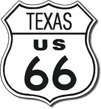 Placa de metal  ROUTE 66 - texas