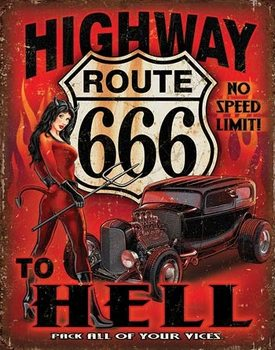 Placa de metal Route 666 - Highway to Hell
