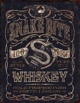 Placa de metal Snake Bite Whiskey