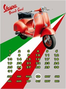 Placa de metal Vespa GS Calendar