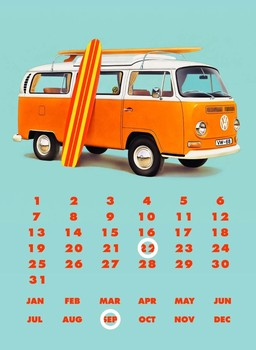 Placa de metal VW BAY WINDOW KOMBI CALENDAR