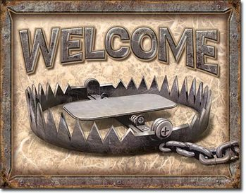 Placa de metal Welcome - Bear Trap