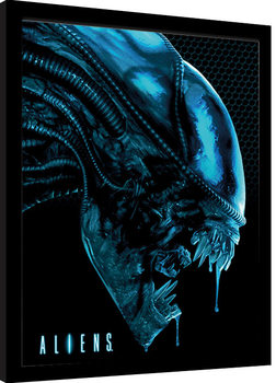 Framed poster Aliens - Head Blue