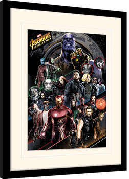Avengers Infinity War - Character Coloured Bands Framed poster