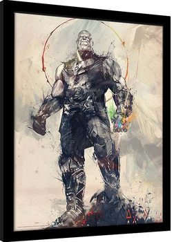 Framed poster Avengers: Infinity War - Thanos Sketch