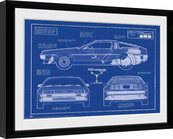 Back To The Future - Blueprint Framed poster