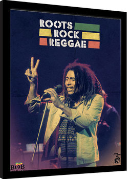 Framed poster Bob Marley - Roots Rock Reggae