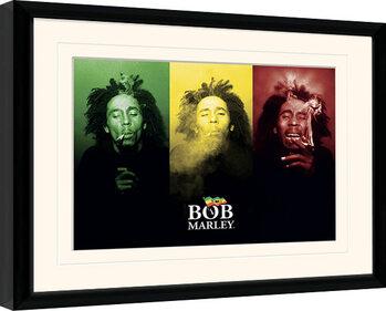 Framed poster Bob Marley - Tricolour Smoke