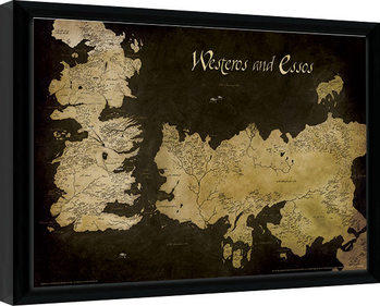 Game of Thrones - Westeros and Essos Antique Map Framed poster