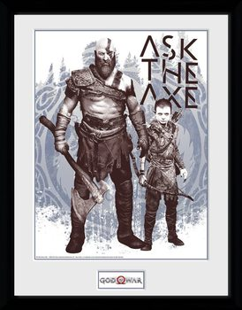 God Of War - Ask The Axe Framed poster