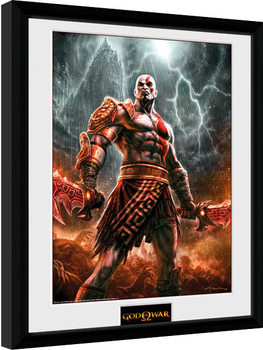 God of War - Kratos Lightening Framed poster