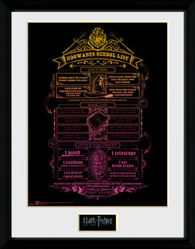 Harry Potter - Hogwarts List Framed poster