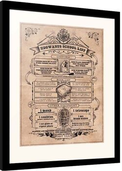 Framed poster Harry Potter - Hogwarts School List
